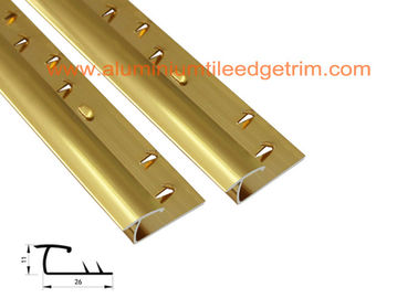 Gold Aluminium Carpet Trim , Carpet To Tile Door Bar / Reducer / Threshold Strip
